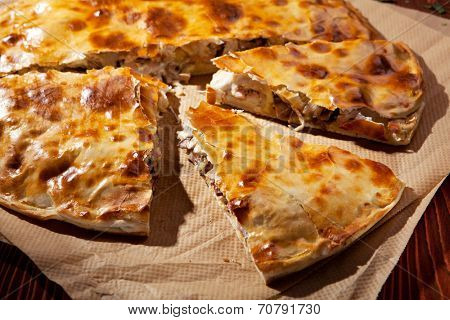 Pizza Calzone with Mushrooms and Ham