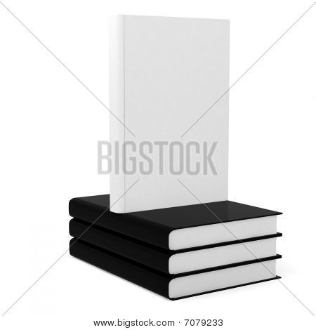 3d books with blank covers isolated on white backgroundr