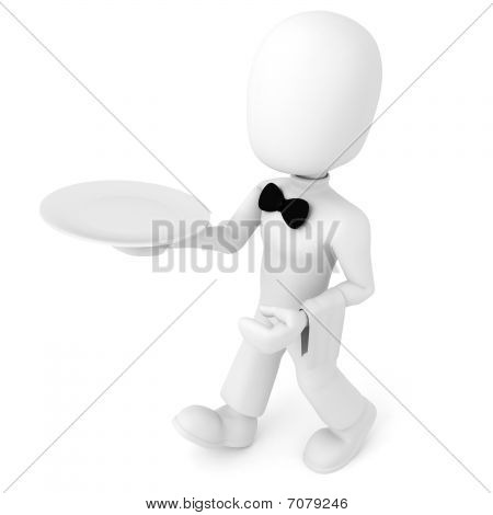 3d man waiter, isolated on white background