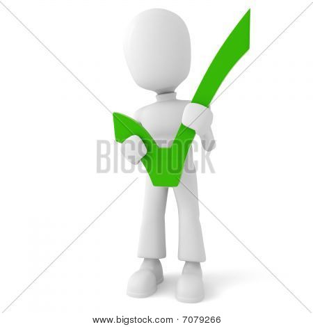 3d man with a big approval sign, isolated on white
