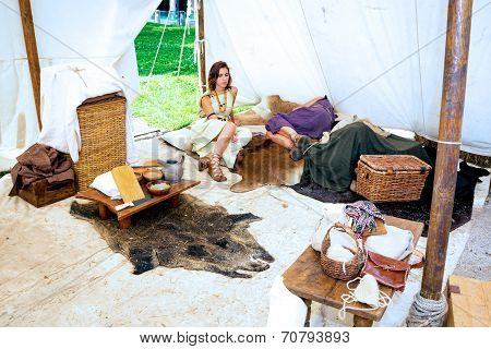 Couple Lying In Roman Tent