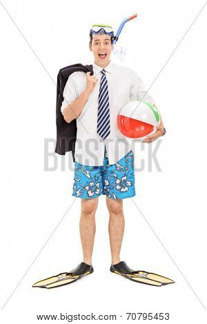 Full length portrait of a businessman with diving mask and a beach ball isolated on white background