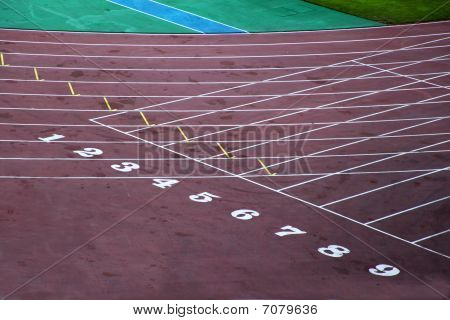 Starting Block Of Track And Field Circuit