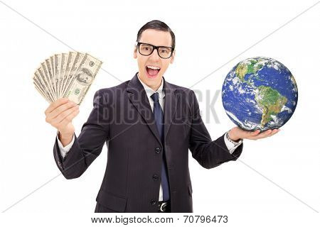 Successful businessman holding the planet earth isolated on white background, Elements of this image furnished by NASA
