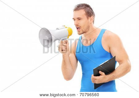 Fitness instructor shouting on a megaphone isolated on white background