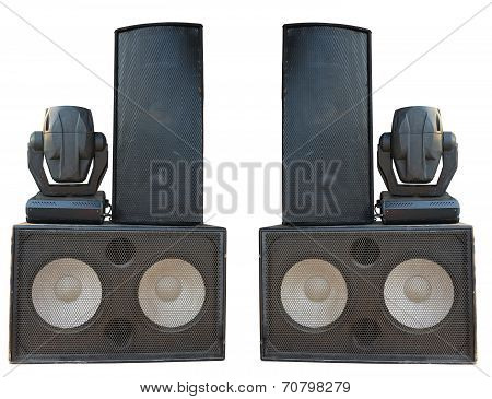 Powerful Stage Concerto Audio Speakers And Spotlight Projectors Isolated On White