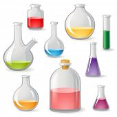 picture of toxic substance  - Colorful flasks icons over white background - JPG