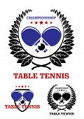 picture of ping pong  - Table tennis emblems with ping pong ball racket laurel wreaths and text Table Tennis Championship - JPG