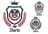 Постер, плакат: Darts emblems or signs set