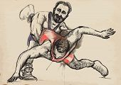 foto of wrestling  - An hand drawn vector illustration  - JPG