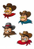 picture of western saddle  - Cartoon western brutal cowboys characters for mascot - JPG