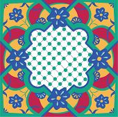 foto of tile  - Seamless tile pattern in a style similar to Moroccan or traditional talavera tiles - JPG