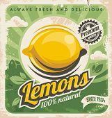 stock photo of 50s 60s  - Retro poster design for lemon farm - JPG