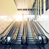 stock photo of escalator  - Escalators in an office building of city - JPG