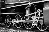 pic of train-wheel  - Black and white vintage train Train wheel - JPG