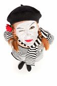 picture of clown rose  - Happy mime comedian isolated on white background - JPG