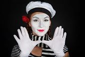 picture of clown rose  - Portrait of a mime comedianon black background - JPG