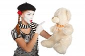 pic of clown rose  - Mime comedian talking with teddy bear isolated on white background - JPG