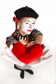 stock photo of clown rose  - Mime valentine day concept - JPG