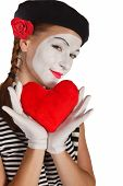 stock photo of clown rose  - Portrait of a mime valentine day concept - JPG