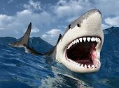 stock photo of great white shark  - Computer generated 3D illustration with a Great White Shark in the stormy ocean - JPG