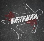 picture of pry  - Investigation word in a chalk outline of a dead body or murder victim in a crime scene worked on by police officers - JPG