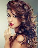 image of pink eyes  - Model with beautiful curly hair - JPG