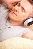 Man Listening Music With Headphones