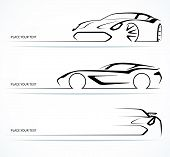 image of speeding car  - Set of abstract monochrome linear sports car silhouettes - JPG