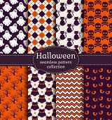 Halloween Seamless Patterns. Vector Set. poster