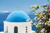 foto of cupola  - Iconic church with blue cupola in Oia Santorini Cyclades Greece - JPG
