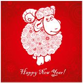 picture of ram  - Funny sheep on bright red background and Happy new year 2015 - JPG
