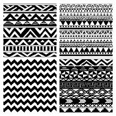 foto of aztec  - Set of 4 Hand Drawn Aztec Tribal Seamless Black and White Background Patterns - JPG