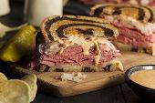 stock photo of sandwich  - Homemade Reuben Sandwich with Corned Beef and Sauerkraut - JPG