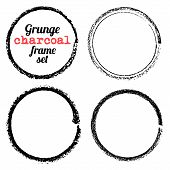 foto of charcoal  - Set of four grunge circle charcoal frames vector - JPG
