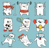 Постер, плакат: Cartoon Sport Bears in Action Collection