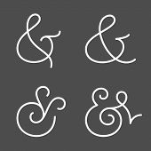 picture of ampersand  - Four elegant and stylish custom ampersands for wedding invitation or business card - JPG