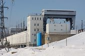stock photo of kama  - Kama hydro electric station in the city of Perm - JPG