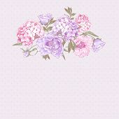 stock photo of hydrangea  - Gentle Pink Vintage Floral Greeting Card with Blooming Hydrangea and Peonies - JPG
