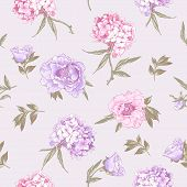 stock photo of hydrangea  - Gentle Pink Vintage Botanical Seamless Background with Hydrangea and Peonies - JPG