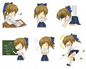 foto of upskirt  - Cute Thai schoolgirl student in various activities and emotion icon set 3 create by vector - JPG