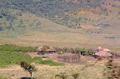picture of mud-hut  - A small Maasai village composed by four huts between Ngorongoro Crater and Serengeti Plains Tanzania - JPG