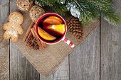 picture of christmas spices  - Christmas mulled wine with fir tree - JPG