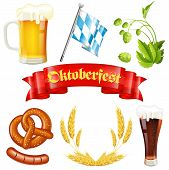 pic of pretzels  - Oktoberfest Icons with Hops Glass of Beer Ears of Barley Pretzel Sausage Bavarian Flag and Red Ribbon vector isolated on white background - JPG