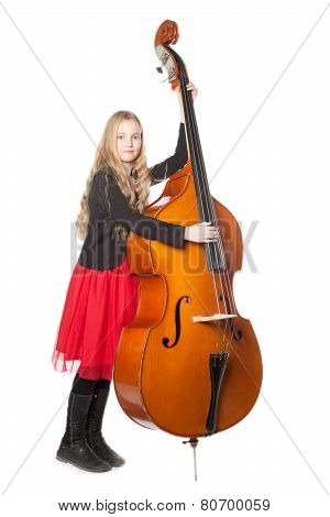 Young Girl Plays Double Bass In Studio