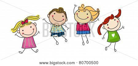 Vector illustration of group of jumping happy kids