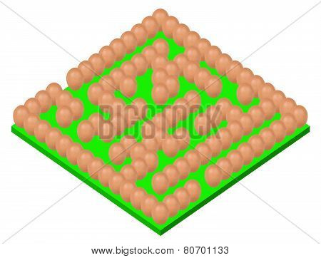 eggs setting Maze or labyrinth with green base isolated