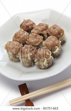 shu mai, shao mai, chinese dim sum dish isolated on white background