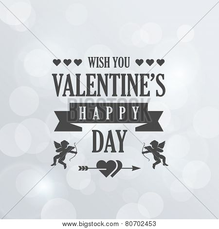 St. Valentine Day Vintage Retro Typography Lettering Design Greeting Card Poster on Bokeh background.  Vector illustration Valentine's day of Love Template. Heart, arrow, cupid icons.