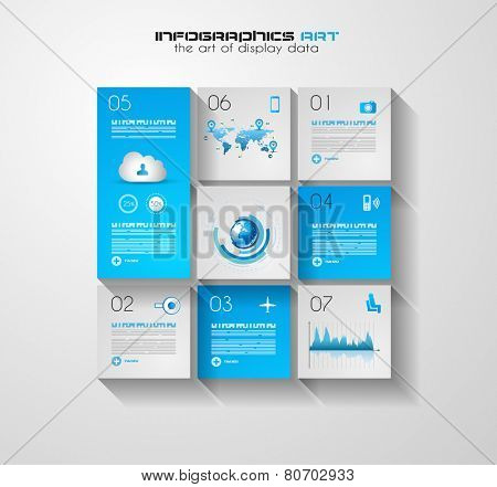 Modern UI Flat style infographic layout for data display, statistic visualization, reports, custom rankings, seo performance data and so on.